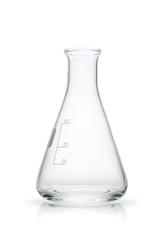 Empty 100ml Erlenmeyer flask isolated on white. Photo captured with a Zeiss Makro-Planar T* 2/50mm at f16.