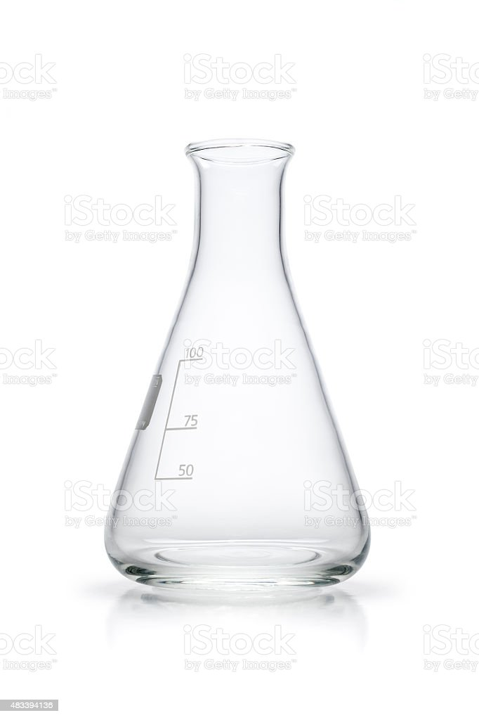 Vide Erlenmeyer Fiole conique-isolé sur fond blanc - Photo