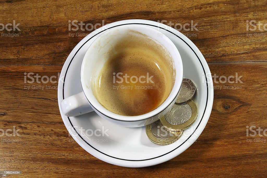Empty Espresso and Tip royalty-free stock photo