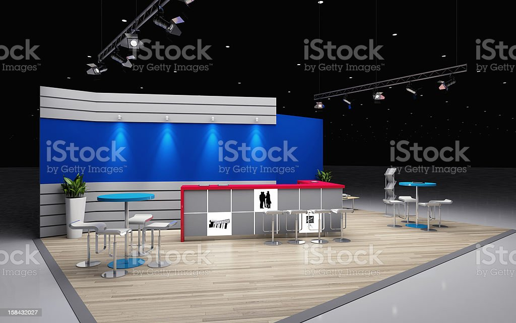 Empty exhibition booth in a studio stock photo