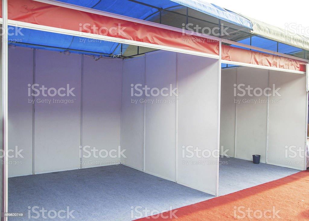 Empty exhibition booth stock photo