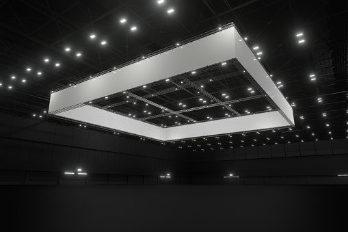 Empty exhibition center with truss. backdrop for exhibition stands.3d render.