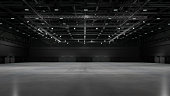 istock Empty exhibition center with truss. backdrop for exhibition stands.3d render. 1320947764
