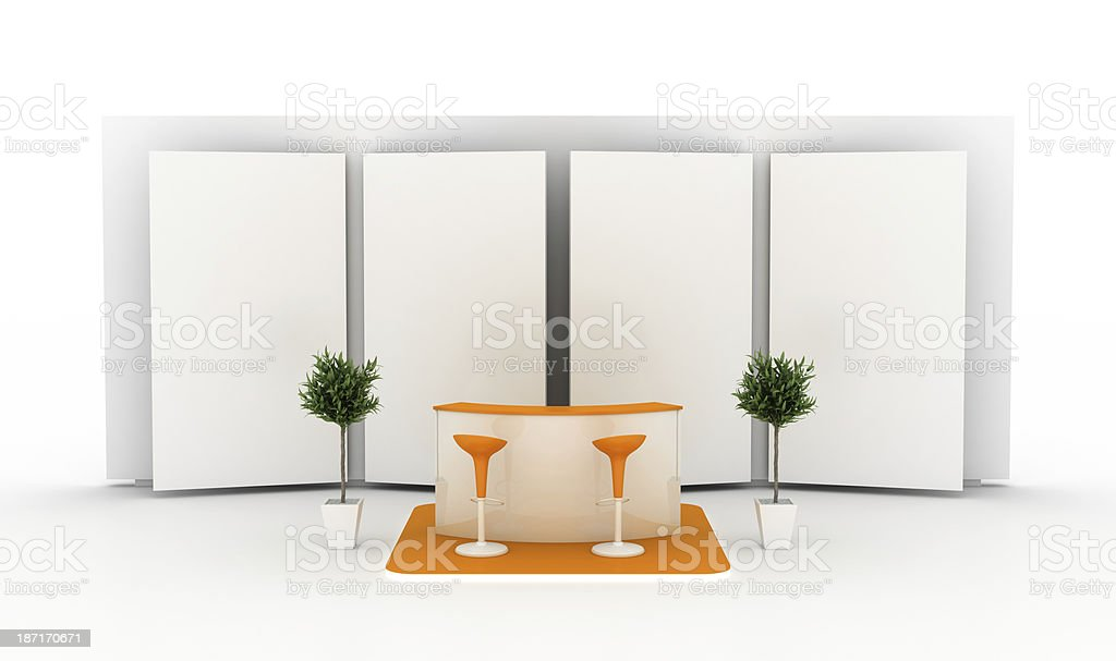 Empty exhibition stand (front view) stock photo