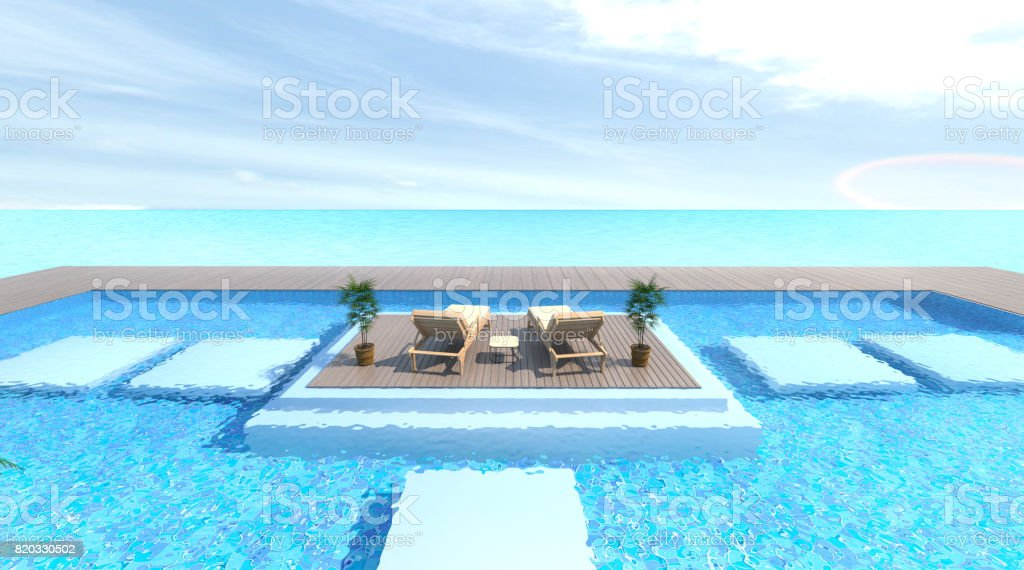 empty exterior with Sunbathing deck and Wood sofa with swimming pool and sea 3d rendering Vacation time stock photo