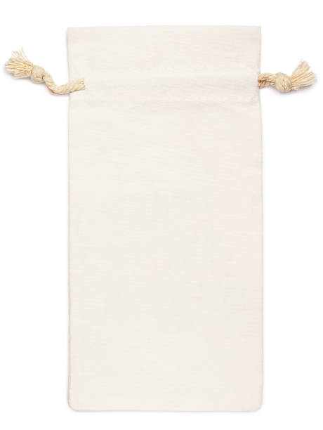 empty fabric cotton bag isolated on white stock photo