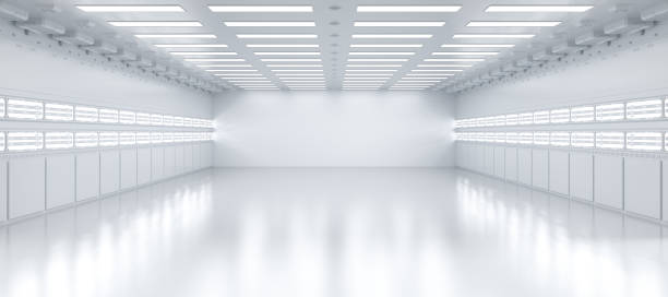 Empty factory interior 3d rendering interior white and clean empty factory or storehouse airplane hangar stock pictures, royalty-free photos & images