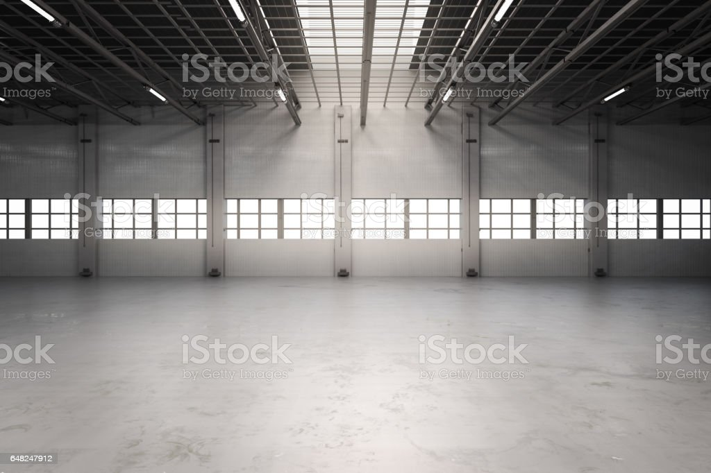 empty factory interior stock photo