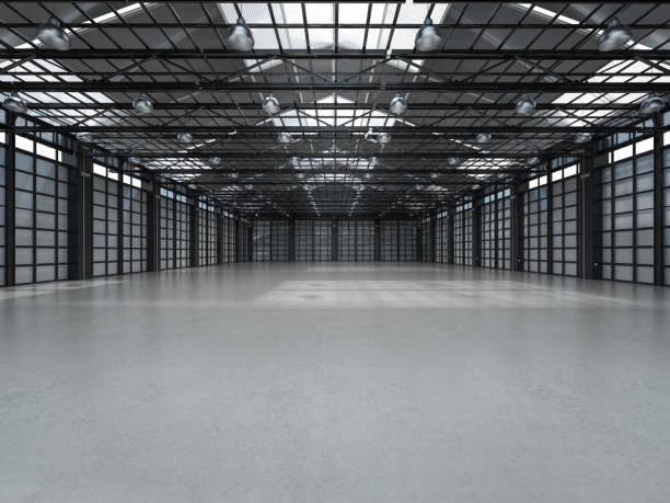 empty factory interior 3d rendering empty factory interior with pendant lamps airplane hangar stock pictures, royalty-free photos & images