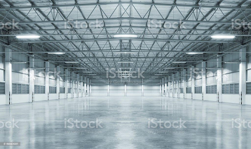 Empty factory stock photo