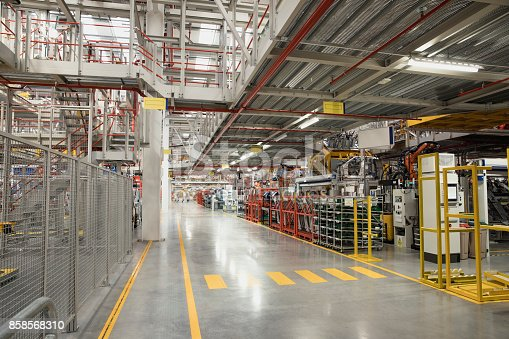 Wide shot of an empty factory.