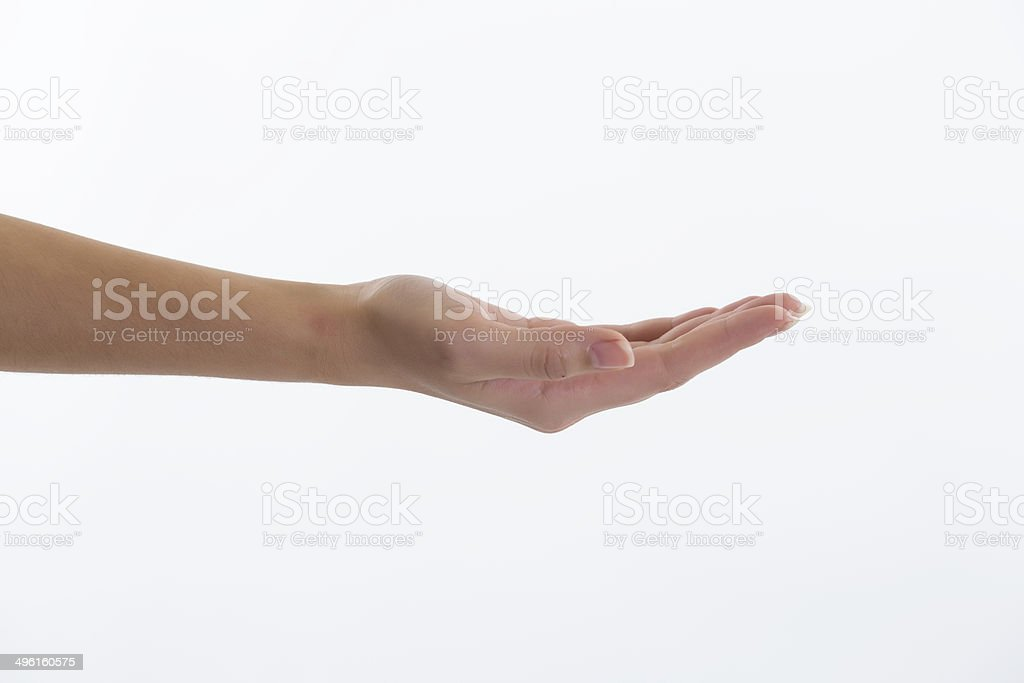 empty female hand isolated over white royalty-free stock photo