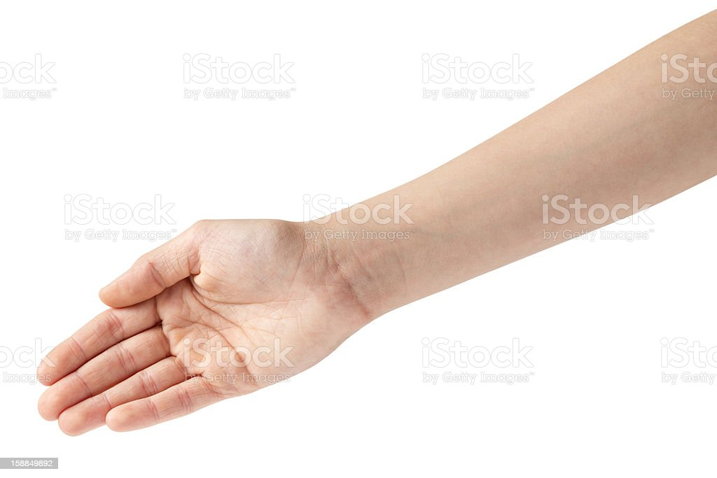 empty female teen hand from above royalty-free stock photo