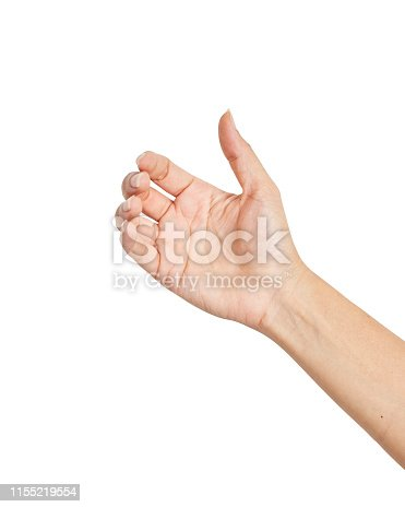 istock Empty female woman hand holding isolated on white, clipping path 1155219554