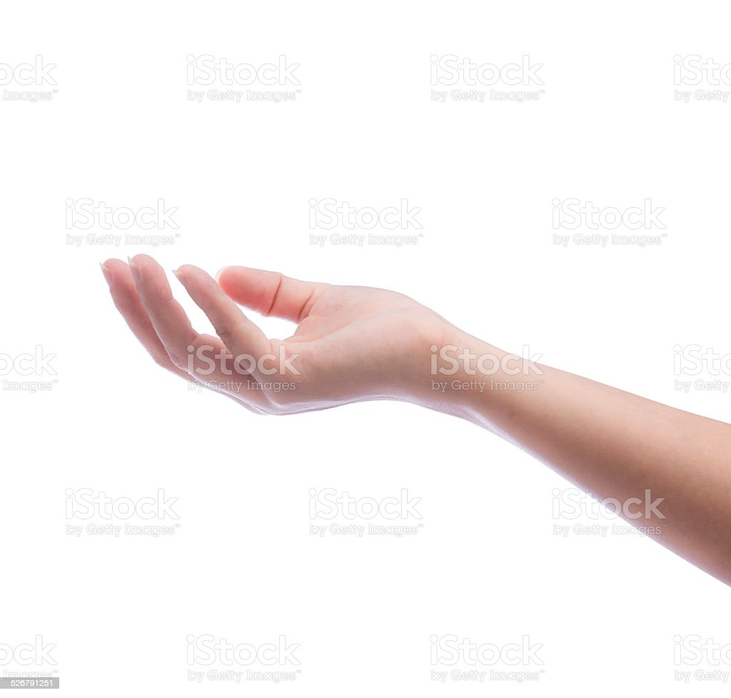 empty female woman hand holding stock photo