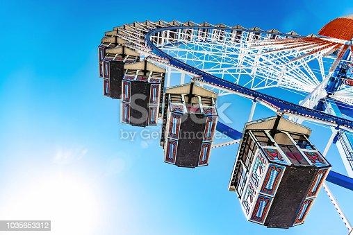 low angle view on empty ferris wheel at Oktoberfest in Munich under blue sky