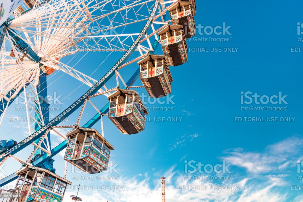empty ferris wheel at Oktoberfest in Munich stock photo