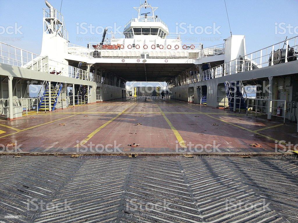 Empty ferry waiting stock photo