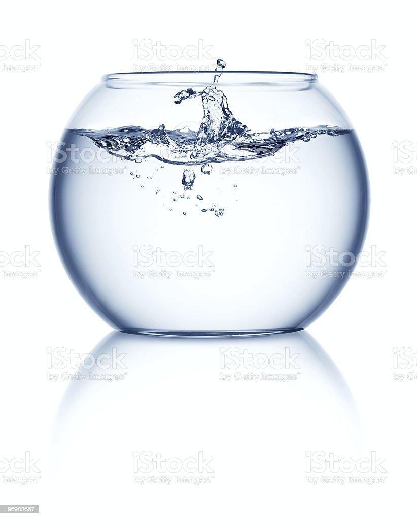 Empty fishbowl with splashing water stock photo