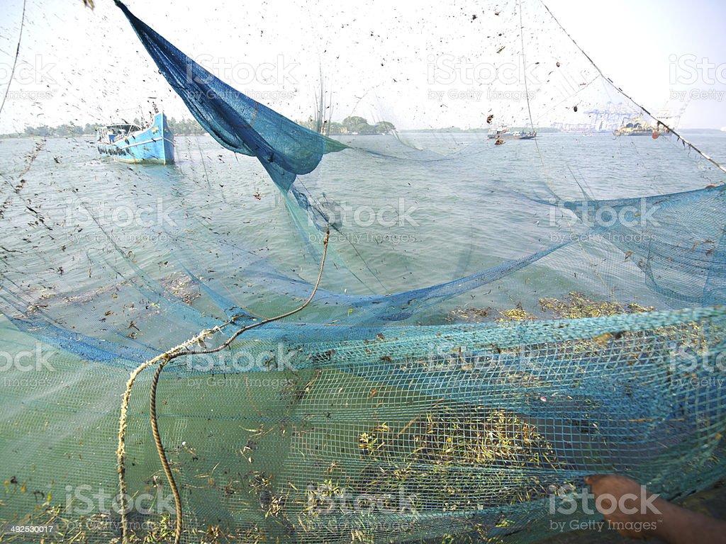 Empty fishing net stock photo