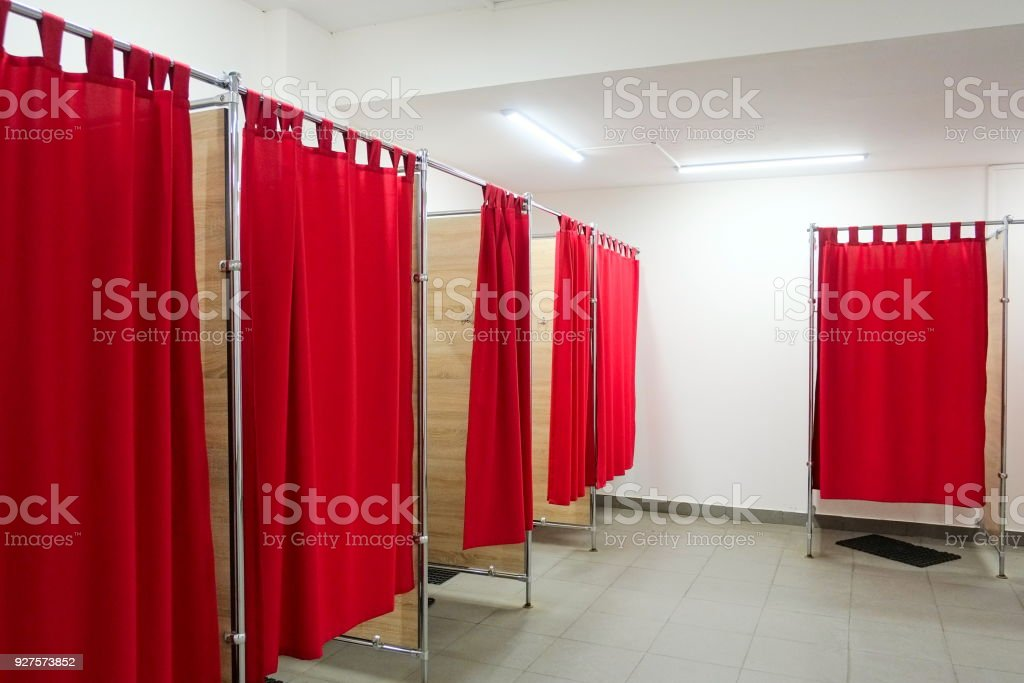 store curtains empty picture clothing photo free the in with curtain room stock royalty fitting red