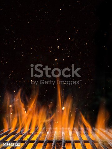 istock Empty flaming charcoal grill with open fire 958693130