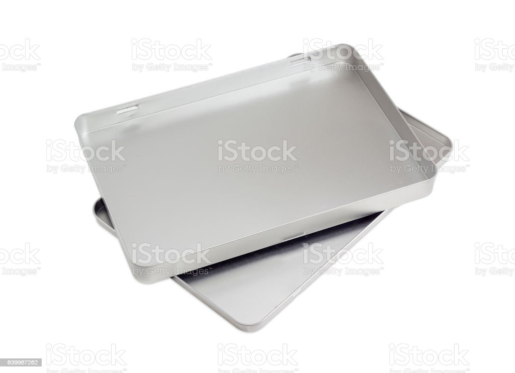 Empty flat rectangular tin box with lid stock photo