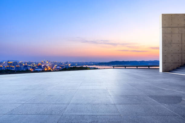 Cтоковое фото Empty floor and beautiful city scenery with mountain in Hangzhou