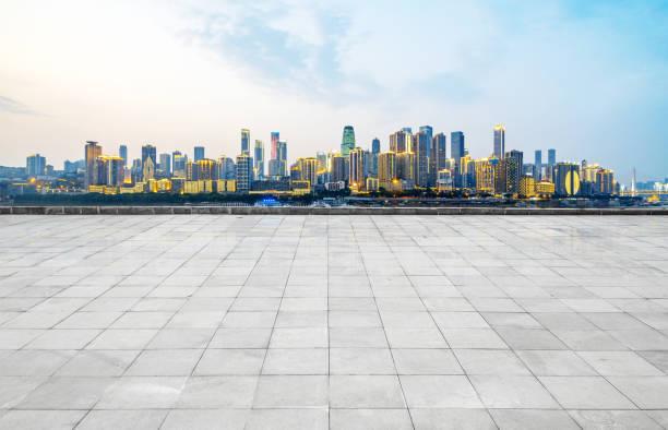 Empty floor and urban skyline in Chongqing, China stock photo