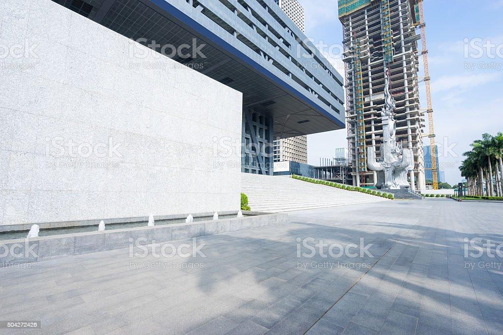 empty floor front of modern building stock photo
