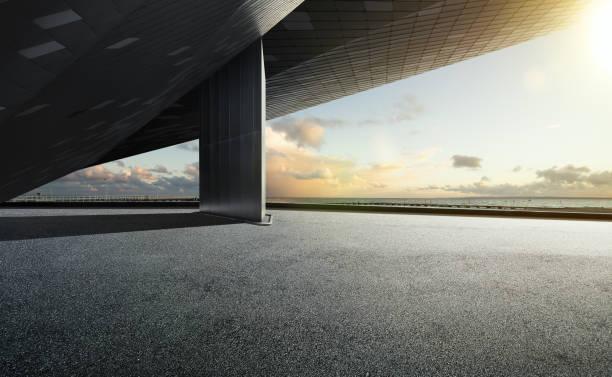 Empty floor ground with modern building rooftop stock photo