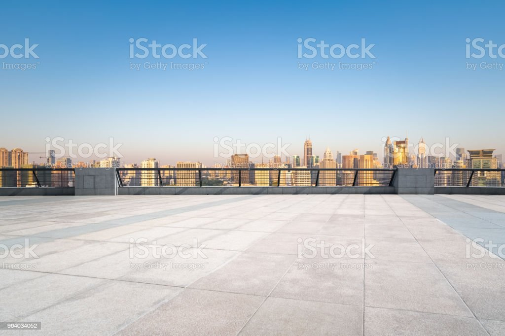 empty floor with shanghai in sunrise - Royalty-free Architecture Stock Photo