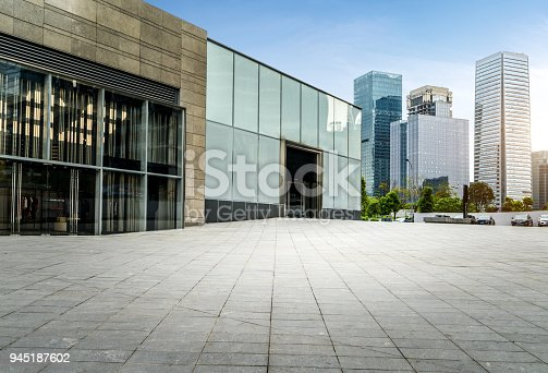 Empty floors and modern urban buildings