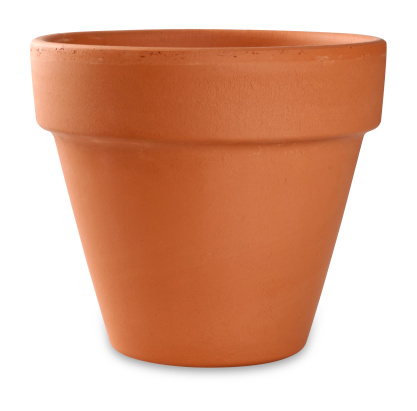 empty flower pot on white with clipping path