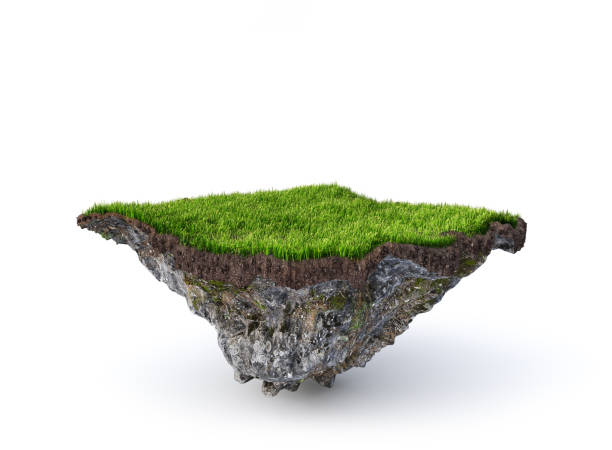 Empty flying island. Piece of ground isolated on a white background. 3d illustration stock photo
