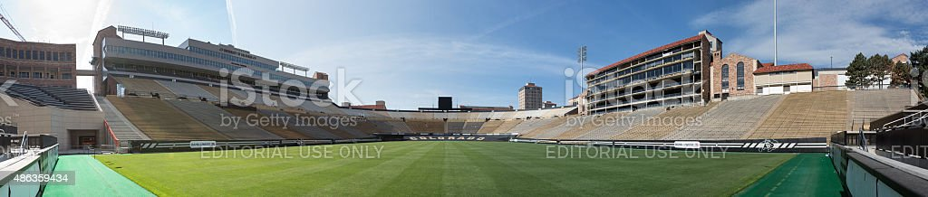 Empty Folsom Field panorama at University of Colorado stock photo