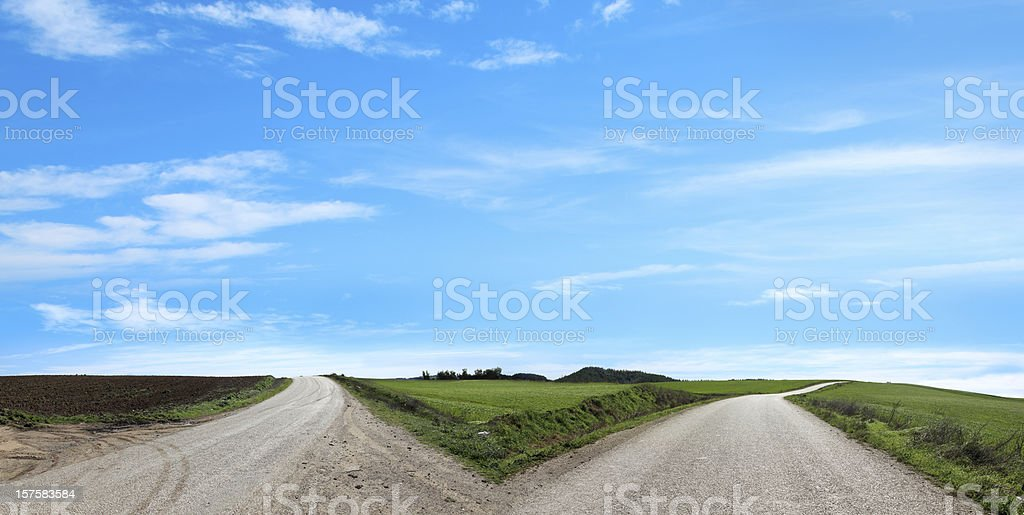 empty forked road stock photo