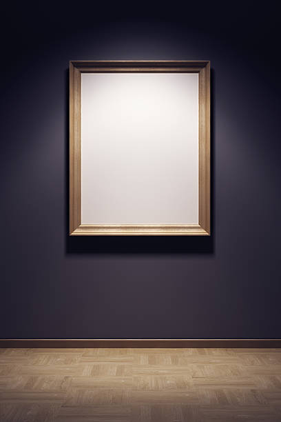 empty frame hanging on gallery wall - museum stockfoto's en -beelden