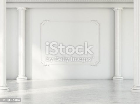 Empty Frame in Light Room with Classic Columns. 3d Render