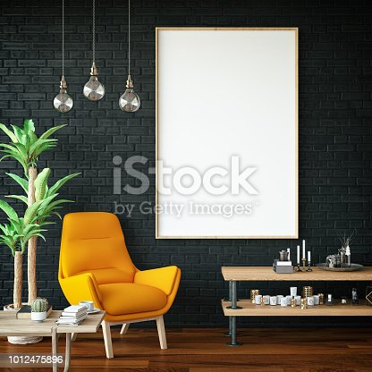 1153448605 istock photo Empty Frame in Living Room 1012475896