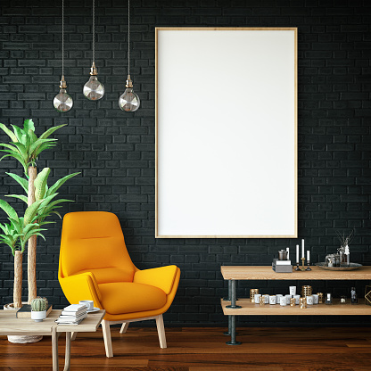 Panoramic picture frame in living room