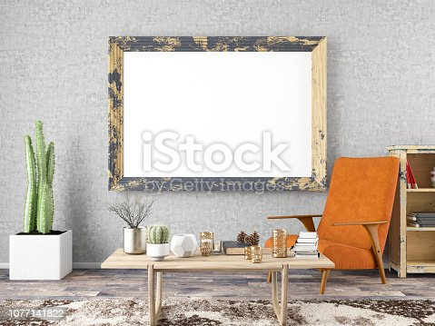 1153448605 istock photo Empty Frame in Living Room 1077141822