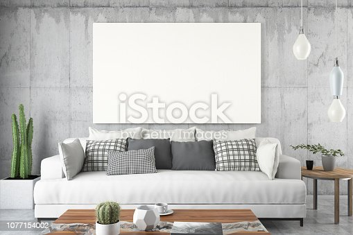 1153448605 istock photo Empty Frame in Living Room 1077154002