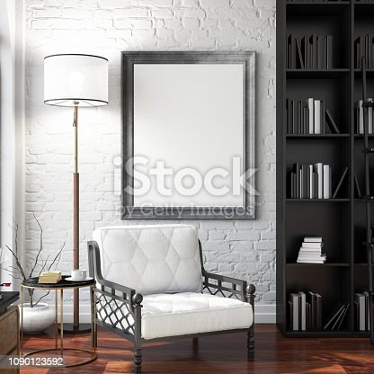 1153448605 istock photo Empty Frame in Living Room 1090123592