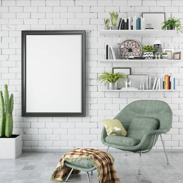 Empty Frame in Living Room picture frame in living room building feature stock pictures, royalty-free photos & images