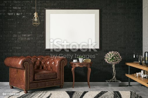 1153448605 istock photo Empty Frame in Living Room 941104934