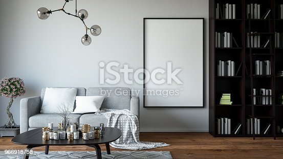 1153448605 istock photo Empty Frame in Living Room 966918758