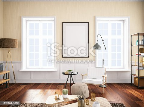1153448605 istock photo Empty Frame in Living Room 966932956