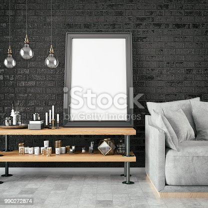 1153448605 istock photo Empty Frame in Living Room 990272874