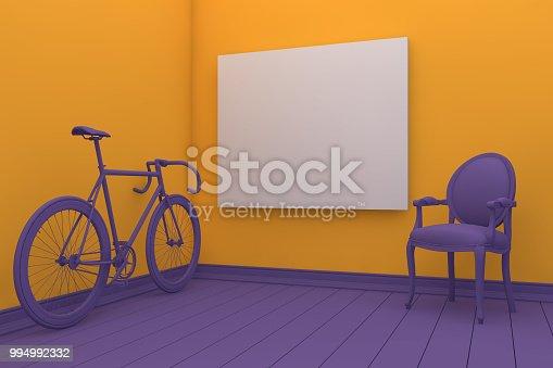654050754istockphoto Empty Frame in Living Room 994992332